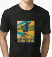 Skier Skiing Retro Winter Sports Mountains Sports Tri-blend T-Shirt
