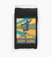 Skier Skiing Retro Winter Sports Mountains Sports Duvet Cover