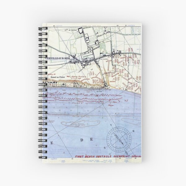 Vintage Map of The Omaha Beach Landings (1944) Spiral Notebook