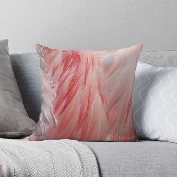 Flamingo Coral Pink Feathers Photograph Throw Pillow