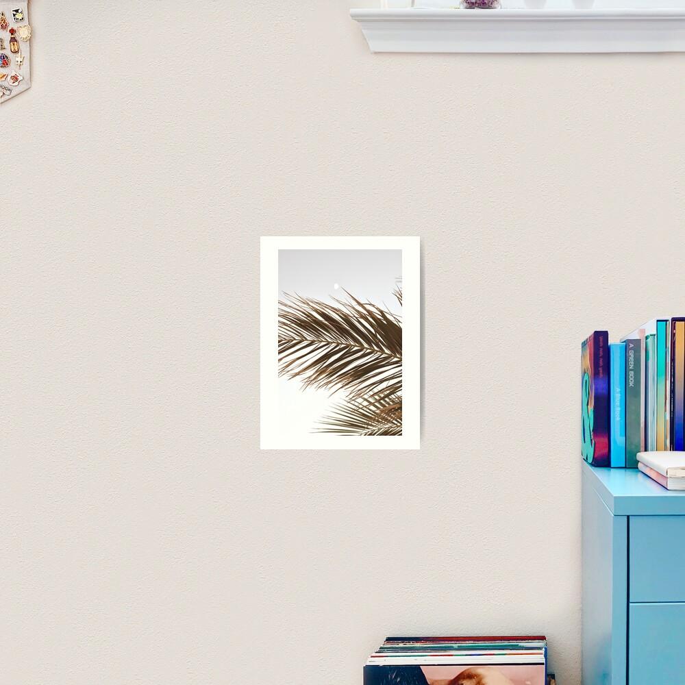 Palm Tree Leaves in Beige Art Print