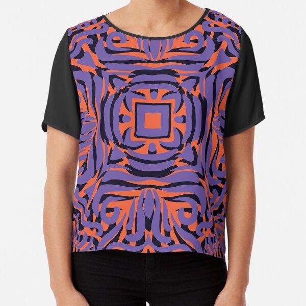 Lilac, Orange & Black Swirly Mandala Chiffon Top