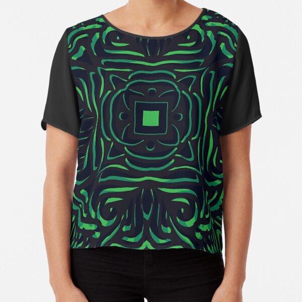 Black & Green Swirly Mandala Chiffon Top