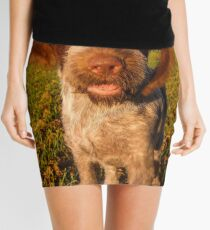Brown Roan Italian Spinone Puppy Dog In Action Mini Skirt