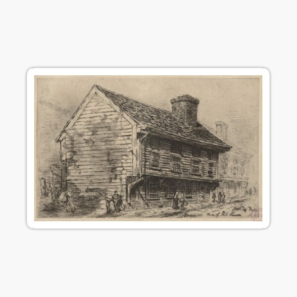 Vintage Illustration of Paul Revere's Home (1904) Sticker