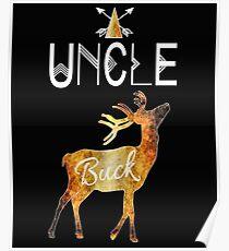 Onkel Buck Deer Stammes-Familie Weihnachten Camping Rustikales BrownTextured Geschenk Poster