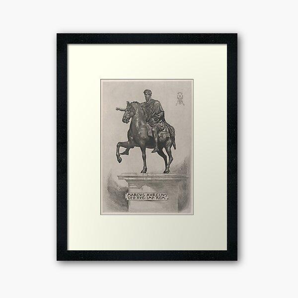 Vintage Marcus Aurelius Statue Illustration (1889) Framed Art Print