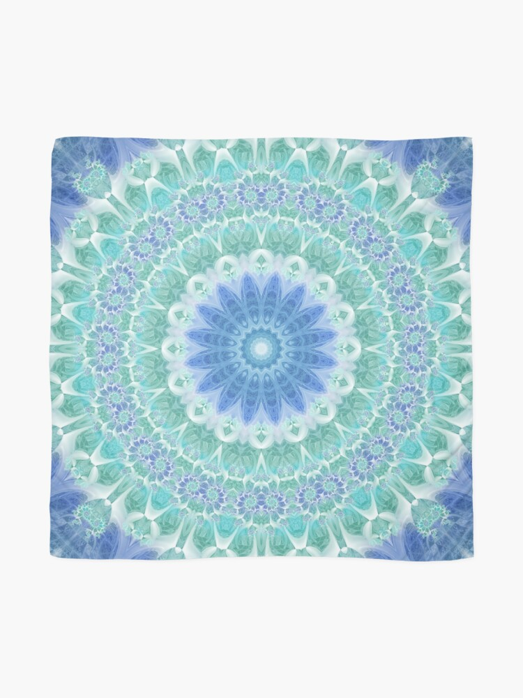 Alternate view of Blue and Turquoise Mandala Scarf