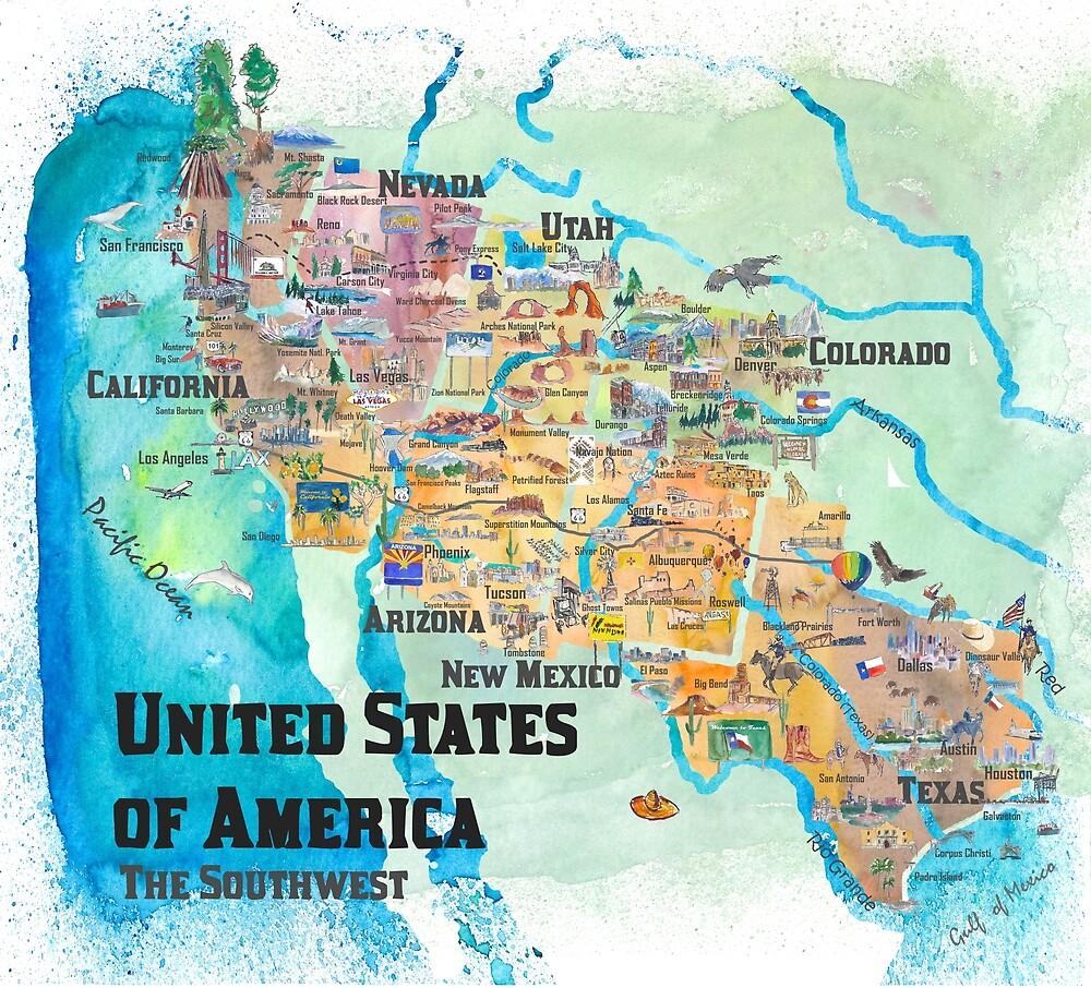 USA Southwest States Travel Poster Illustrated Art Map\