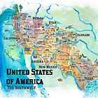USA Southwest States Travel Poster Illustrated Art Map by artshop77