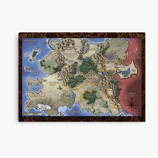 Scarred Lands Map of Ghelspad Canvas Print