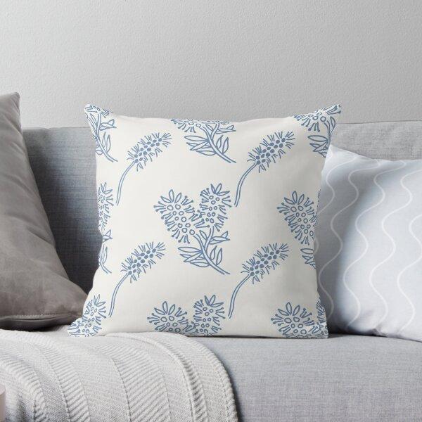Sweet blue and white chintz like bottlebrush pattern Throw Pillow