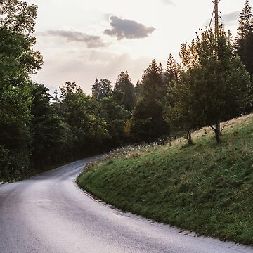 Evening Road Bend By Hill by PatiDesigns