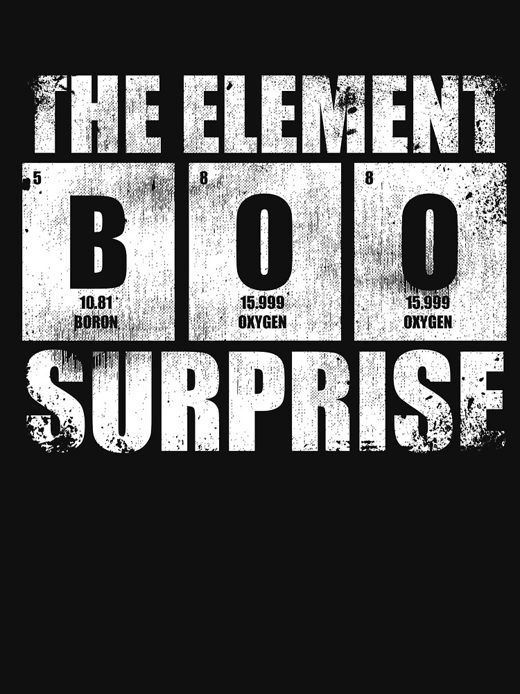 Boo The Element Of Surprise Science Pun Halloween by kieranight