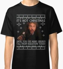 Die Hard Its Not Christmas Unil Hans Gruber Falls Off Nakatomi Tower Knit Pattern Classic T-Shirt