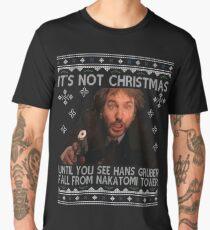 Die Hard Its Not Christmas Unil Hans Gruber Falls Off Nakatomi Tower Knit Pattern Men's Premium T-Shirt