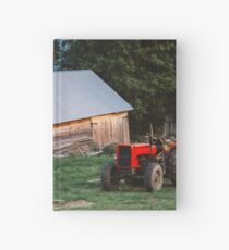 Red Tractor On Evening Farm Hardcover Journal