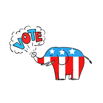 American Elephant Vote Drawing by patrimonio
