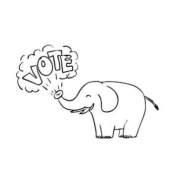American Elephant Vote Drawing by patrimonio