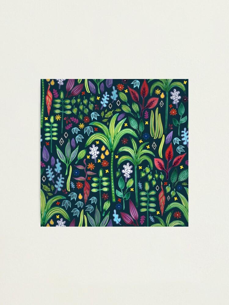 Alternate view of Jungle Flora - watercolour pattern by Cecca Designs Photographic Print