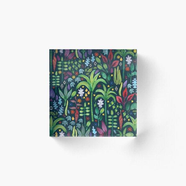 Jungle Flora - watercolour pattern by Cecca Designs Acrylic Block