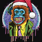 Psychedelic Christmas Chimpanzee Chimp by MudgeStudios