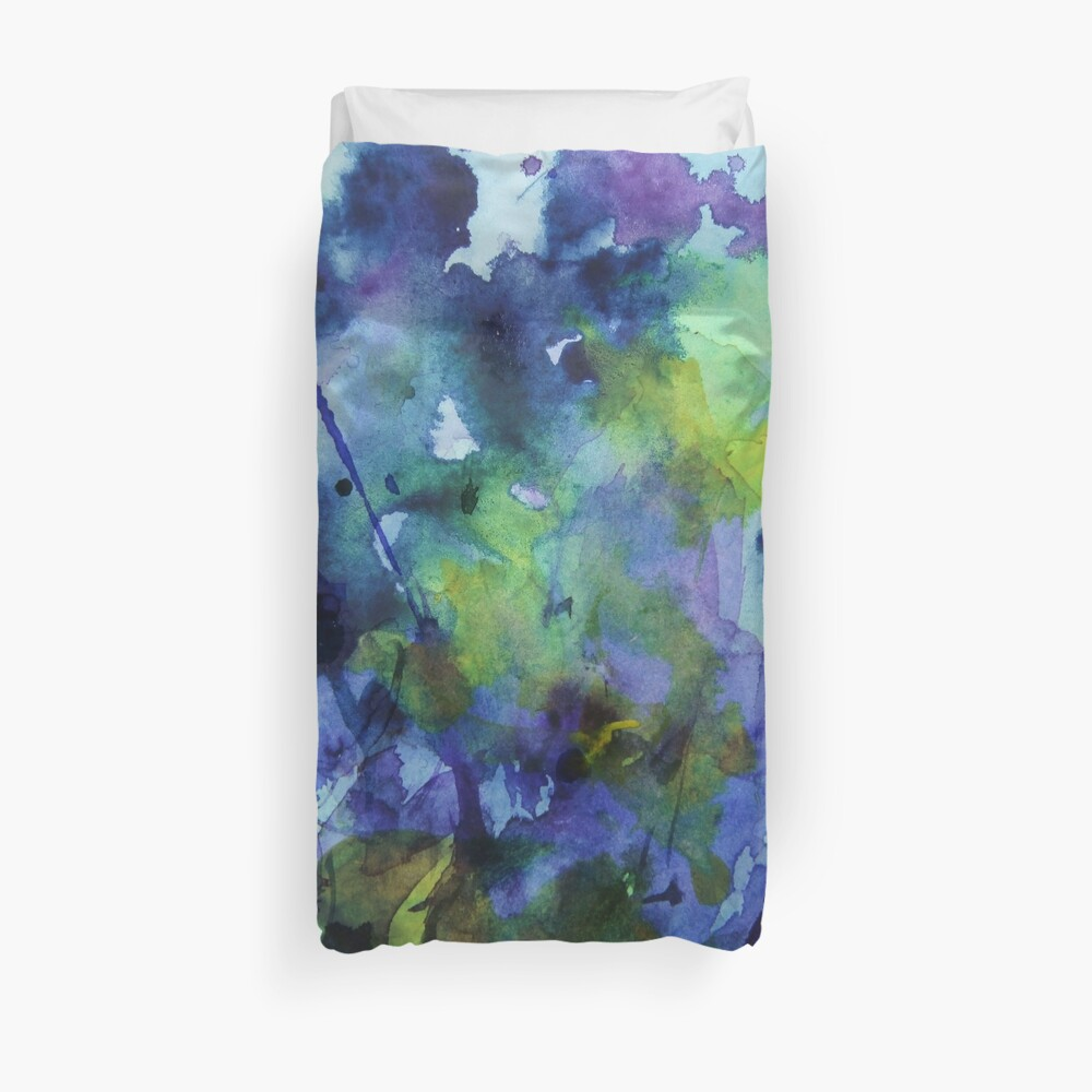 watercolor in purple and green Duvet Cover