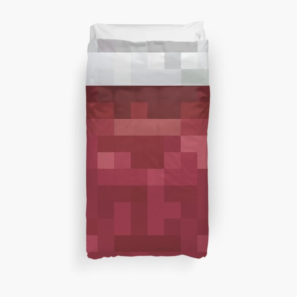 Red and White Pixel  Design Duvet Cover
