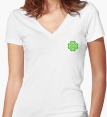 Four Leaf Clover Women's Fitted V-Neck T-Shirt