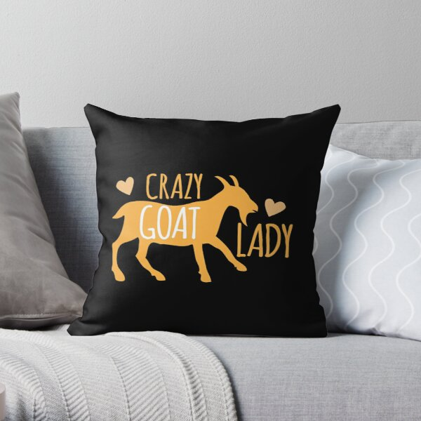 Crazy GOAT lady Throw Pillow