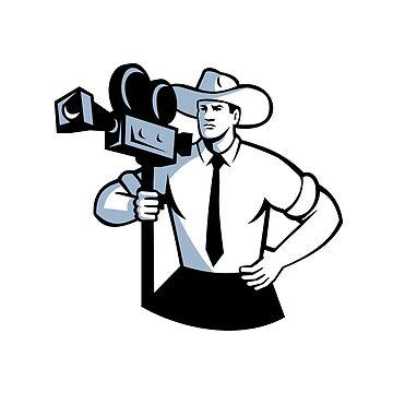Cowboy Cameraman Vintage Movie Camera Retro by patrimonio