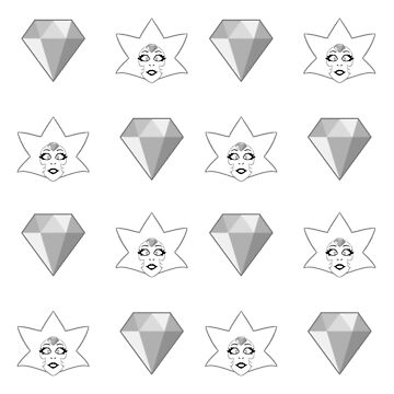 Steven Universe - White Diamond Repeating Pattern  by Galaxxi