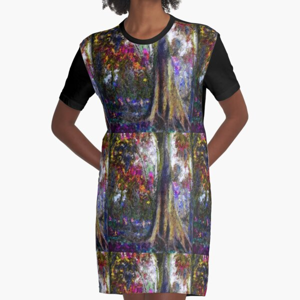 Shrubbery on the Mountain Graphic T-Shirt Dress