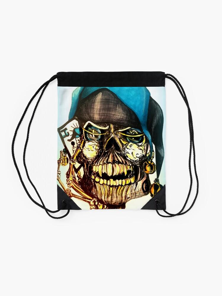 Alternate view of Original Joker Skull Drawing Drawstring Bag