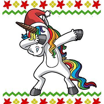 Dabbing Unicorn Ugly Christmas by frittata