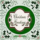 Green Christmas Holly with Christmas Greetings  by Vickie Emms