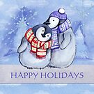 Happy Holidays Snowman Couple by Vickie Emms