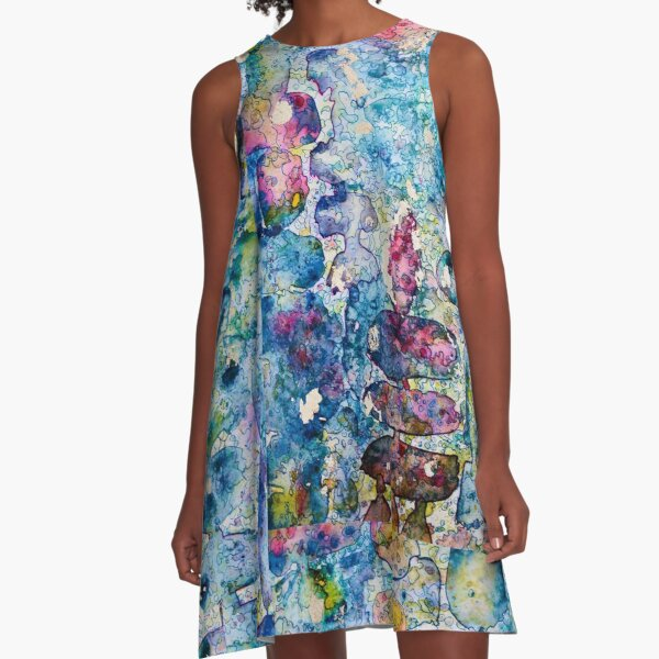 Abstract: Abalone Shell Colors A-Line Dress