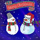 Funny Snowmen Merry Christmas  by Vickie Emms