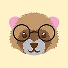 Nerdy little ferret with cute glasses by jazzydevil