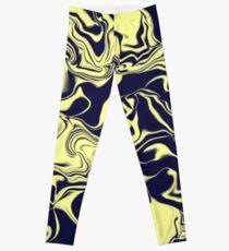 Dunkelblaue und gelbe Wellen Leggings