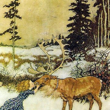 Gerda and the Reindeer - Edmund Dulac by forgottenbeauty