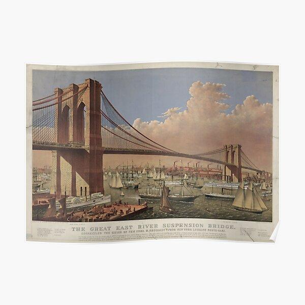 Vintage Illustration of the Brooklyn Bridge (1877) Poster