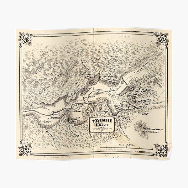 Vintage Map of Yosemite Valley (1879) Poster