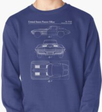 Corvette Stingray Patent - Classic Corvette Art - Blueprint Pullover