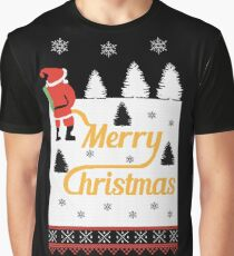 Ugly Christmas Sweater Santa Peeing In The Snow Noel Graphic T-Shirt