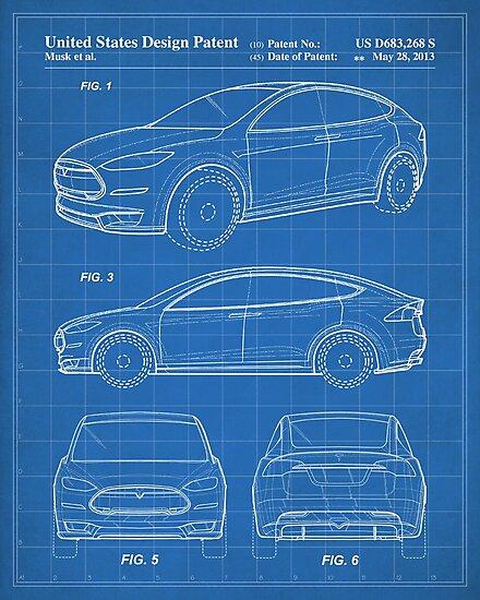Silver Car Tesla R45 Poster