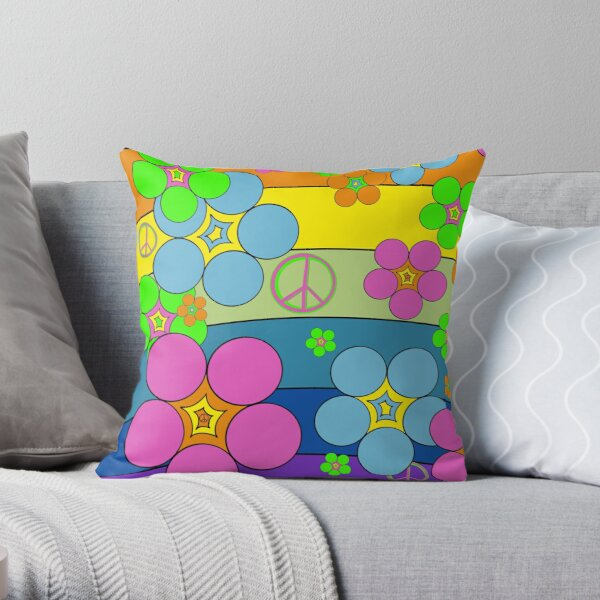 Flower Power Rainbow Throw Pillow