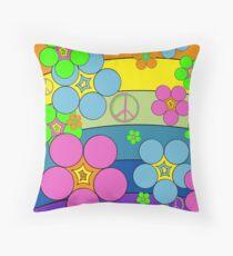 Flower Power Rainbow Throw Pillow