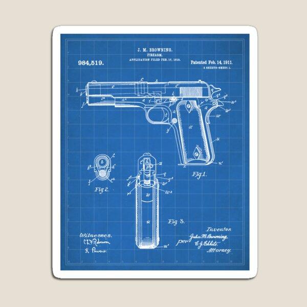 Colt Pistol Patent - Browning 1911 Colt Art - Blueprint Magnet